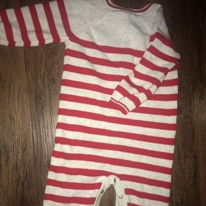 Boys onsie with red and gray stripes